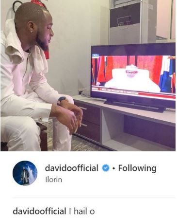 Davido 'Hails' President Buhari As He Delivers A Speech To The Nation