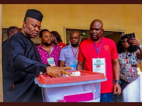 See The Moment Senator Akpabio Cast His Vote