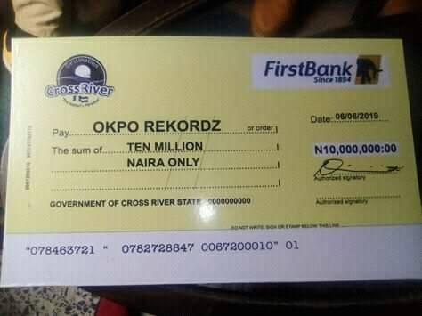 Cross River Governor, Ben Ayade Gifts Okpo Records N10m