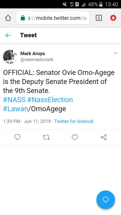 9th Senate: Ovie Omo-Agege Emerges Deputy Senate President