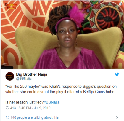 'Some' Housemates Are Willing To Betray Others For Bet9ja Coins