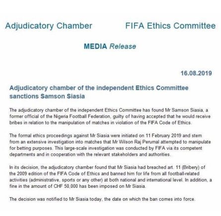 Samson Siasia Banned For Life By FIFA Over Bribery, Match Fixing