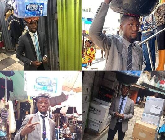 See Trending Photos Of Corporately Dressed Bottle Water Seller In Lagos