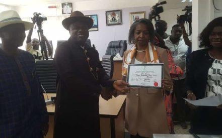 Douye Diri Shows Off His Certificate Of Return
