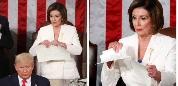Nancy Pelosi Ripped Off President Trump Speech Right Behind Him