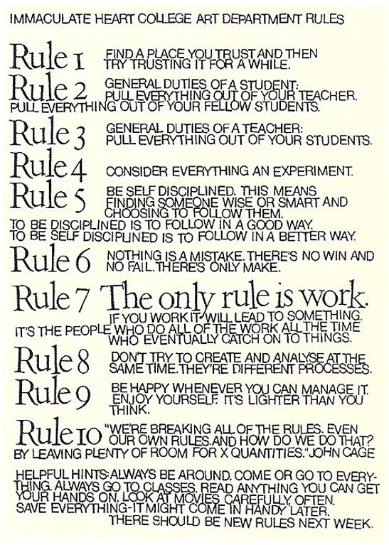 10 Rules For Students, Teachers, And Life By John Cage And Sister Corita  Kent. U201c