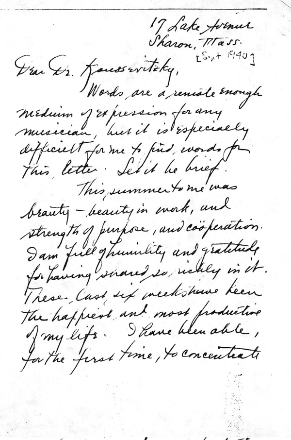Leonard bernsteins moving letter of gratitude to his mentor and a the first page of bernsteins letter to koussevitzky library of congress spiritdancerdesigns Choice Image