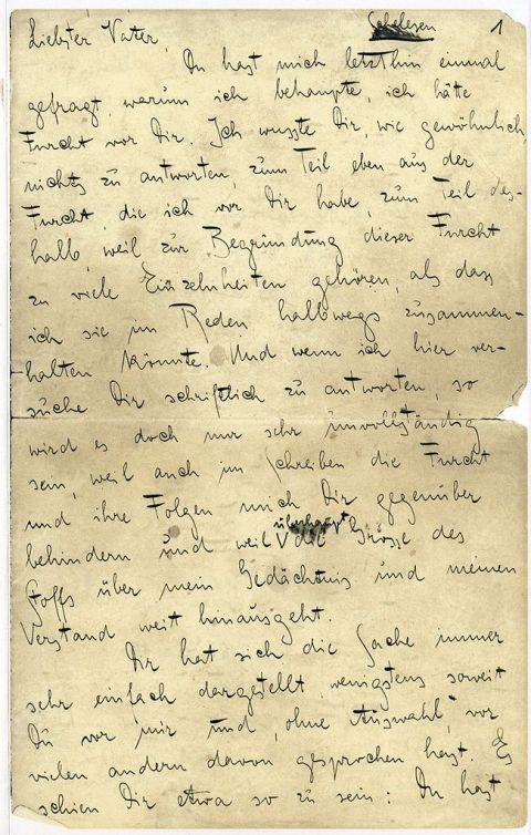 the first page of kafkas letter to his father