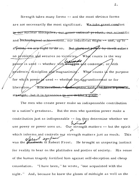 jfk on poetry power and the artist s role in society his eulogy typed draft of the speech edited in kennedy s own hand courtesy of john f kennedy library