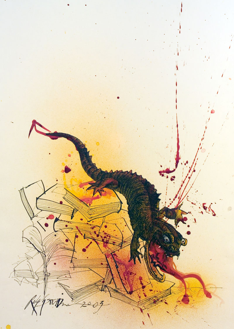 the power of cautionary questions neil gaiman on ray bradbury s art by ralph steadman for a special fiftieth anniversary edition of fahrenheit 451