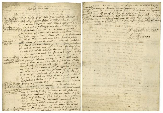 Isaac Newton's famous letter to Robert Hooke, February 5, 1675 (Historical Society of Pennsylvania)