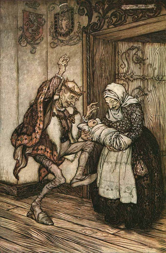 One of Rackham's early color plates for the Brothers Grimm fairy tales