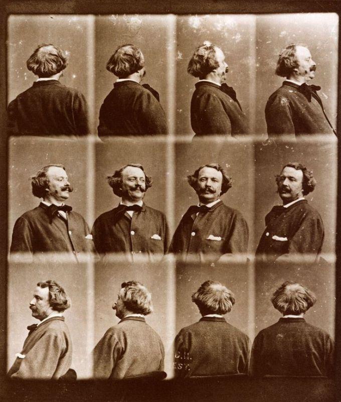 "Nadar's ""Revolving"" self-portrait, created more than 15 years before Muybridge began his famous motion studies."