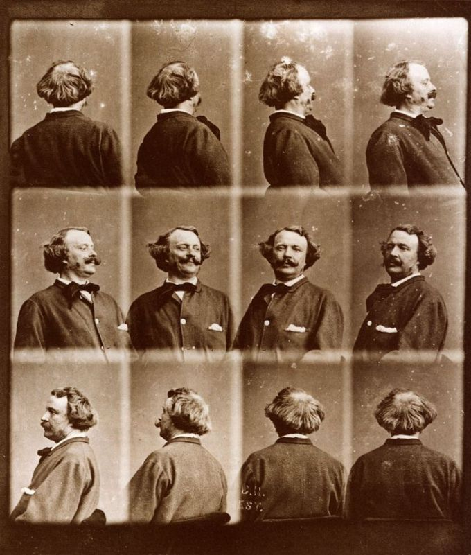 "Nadar's ""Revolving"" self-portrait, created more than 15 years before Muybridge began his famous motion studies."