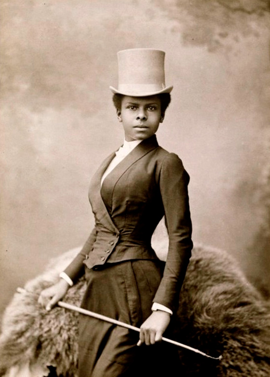 Studio portrait of the trailblazing black equestrian rider Selika Lazevski (Nadar, 1891)
