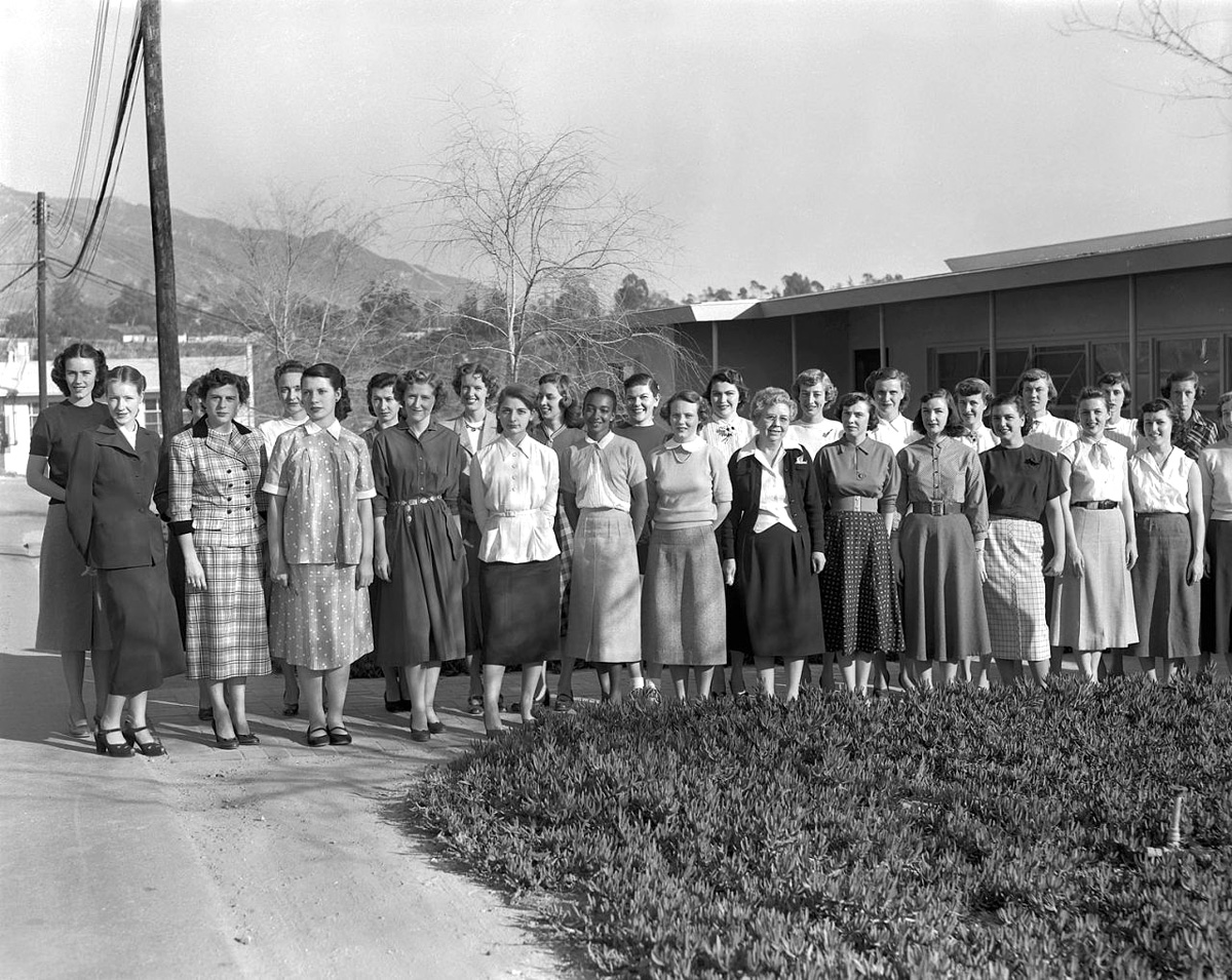 The computers, 1953. First row, left to right: Ann Dye, Gail Arnett, Shirley Clow, Mary Lawrence, Sally Platt, Janez Lawson, Patsy Nyeholt, Macie Roberts, Patty Bandy, Glee Wright, Janet Chandler, Marie Crowley, Rachel Sarason, and Elaine Chappell. Second row: Isabel deWaard, Pat Beveridge, Jean O'Neill, Olga Sampias, Leontine Wilson, Thais Szabados, Coleen Veeck, Barbara Lewis, Patsy Riddell, Phyllis Buwalda, Shelley Sonleitner, Ginny Swanson, Jean Hinton, and Nancy Schirmer. (Photograph courtesy of NASA/JPL-Caltech)