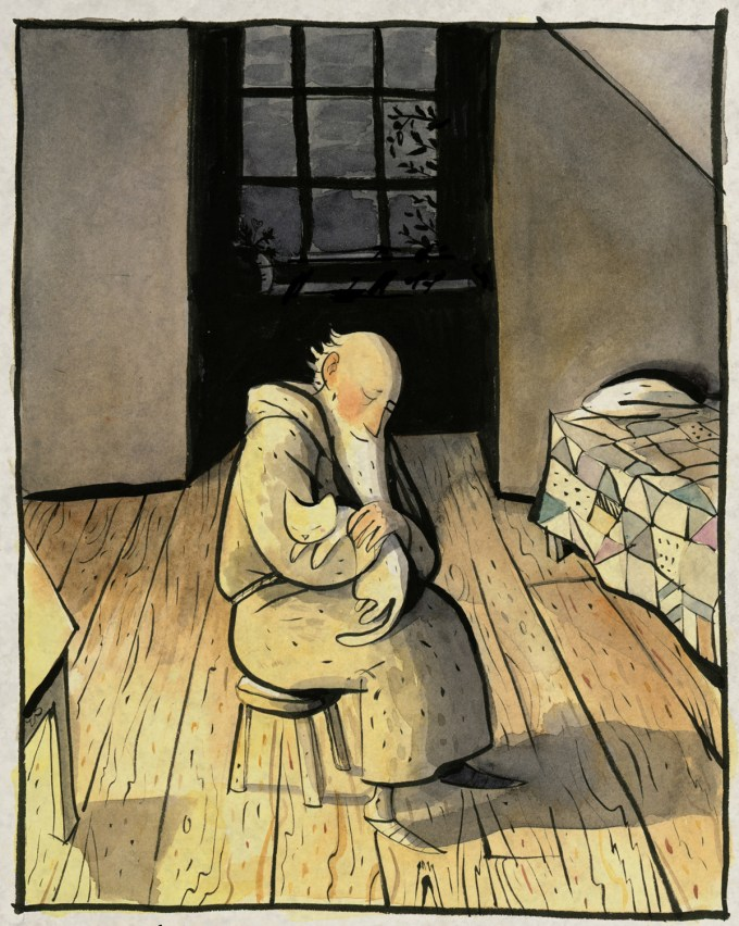 Illustration by Sydney Smith from The White Cat and the Monk