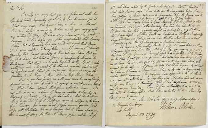 First and last pages of Blake's letter to Trusler, August 23, 1799. (Images: British Library)