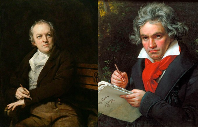 William Blake (left) and Ludwig van Beethoven.