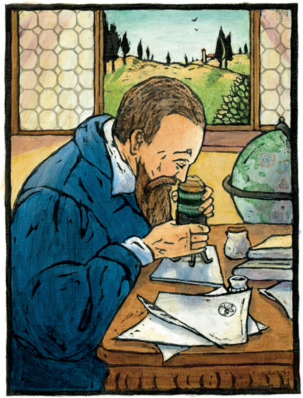 Galileo at his microscope from I, Galileo by Bonnie Christensen