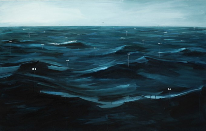 Painting by Oliver Jeffers from his series Measuring Land and Sea