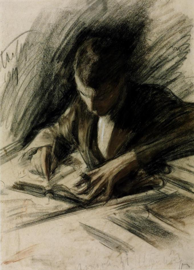 """Boris Pasternak Writing,"" 1919, by Leonid Pasternak, Boris's father (Tate Museum)"