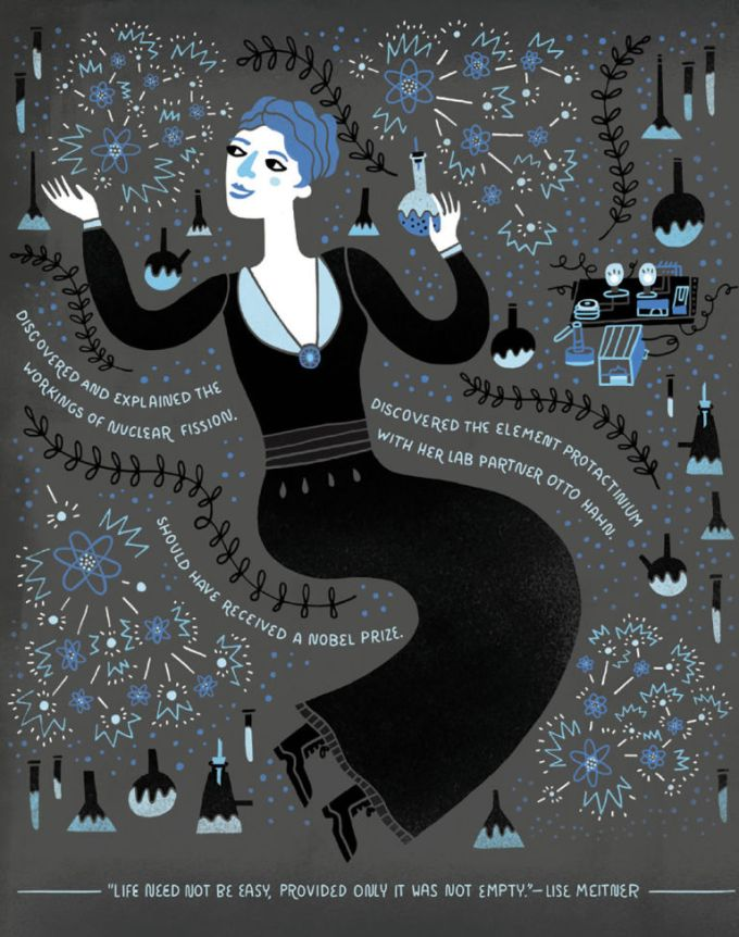 Illustration of Lise Meitner from Women in Science: 50 Fearless Pioneers Who Changed the World by Rachel Ignotofsky