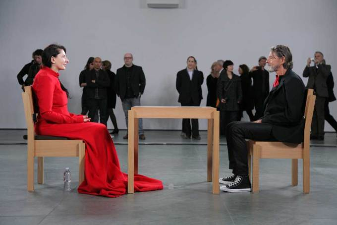 Abramović, The Artist Is Present, 2010. Sitting across from her, Ulay. (Photograph: Scott Rudd)