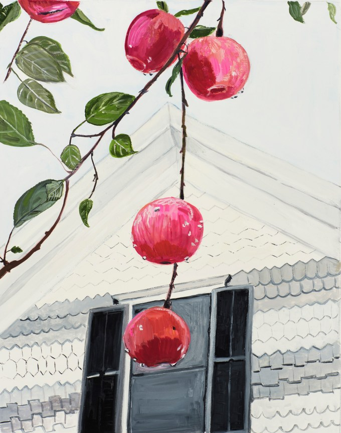 Illustration by Maira Kalman, based on Alfred Stieglitz's Apples and Gable, Lake George, 1922.  (Courtesy of The Museum of Modern Art © Maira Kalman)