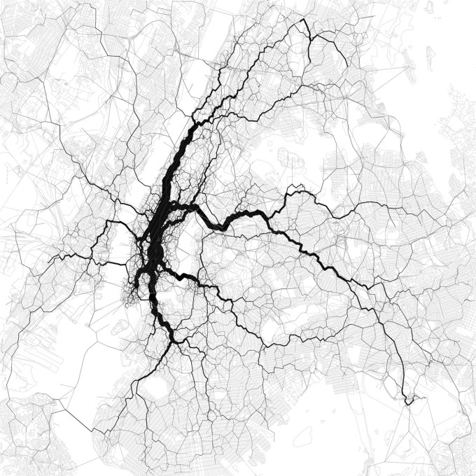 Eric Fischer, Paths through New York City, 2011. Data from the Twitter streaming API, August 2011.