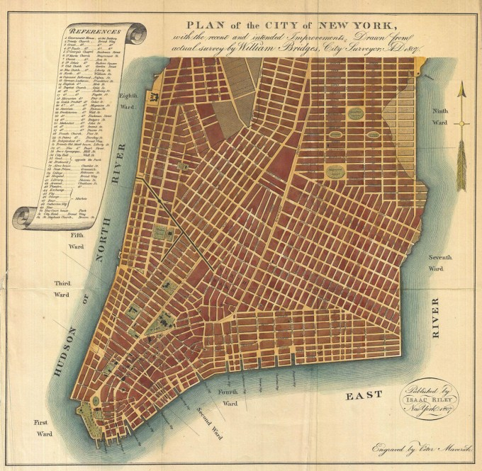 William Bridges, Plan of the City of New York, with the Recent and Intended Improvements, 1807, from Manual of the Corporation of New York, 1871