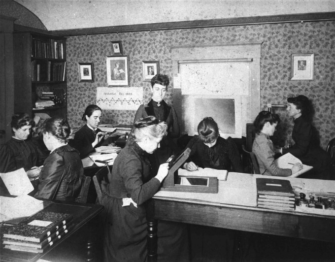 "The ""Harvard Computers"" at work, circa 1890."