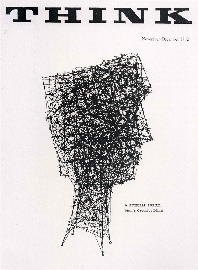 "Cover of the 1962 ""Man's Creative Mind"" issue of IBM's THINK magazine, with cover art by Harry Bertoia"