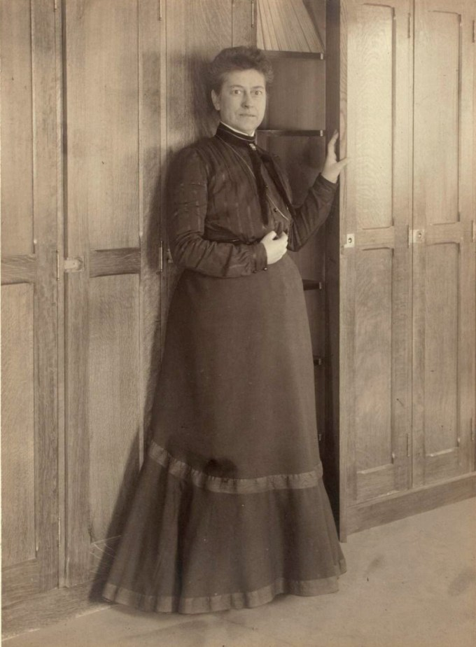 Williamina Fleming at Harvard College Observatory plate stacks, circa 1900. (Harvard University Archives)