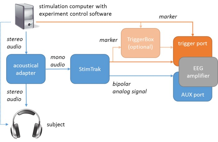 ASAS (Fig. 1): Connection diagram of StimTrak. Blue: analogue audio signal; orange: digital markers. The dotted line marks the connection without using StimTrak. In case StimTrak is used (solid lines), the stereo audio signal enters the acoustical adapter and passes through to the headphones. The acoustical adapter sends one audio channel to StimTrak, which forwards it to the AUX input of the EEG amplifier. If the threshold is violated, a trigger is generated, reaching the trigger port of the amplifier (possibly through a TriggerBox). The stimulation computer also sends a trigger to the amplifier (optionally through a TriggerBox).