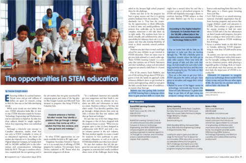 BC Parent Magazine-The opportunties in STEM Education