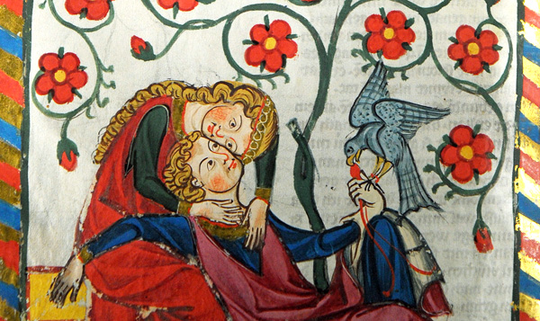 In love, you go beyond your limited self to experience a larger reality. Illustration from a medieval songbook showing two lovers (circa 1304).