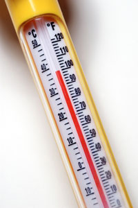 Photo: Thermometer pushing 100 degrees