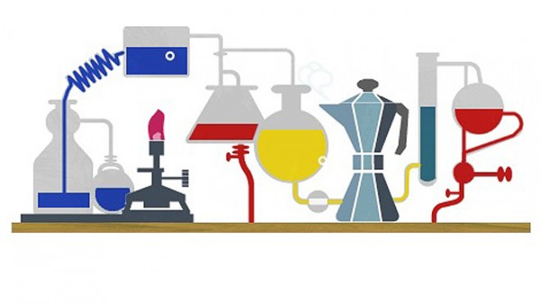 A Google doodle transforms the familiar logo into a science lab replete with beakers, vials ... and a steaming coffee pot. (Google)