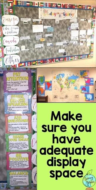 classroom organization for middle grades, back to school classroom set up for middle school #brainyapples #classroomorganization #socialstudies #history #middleschool #highschool