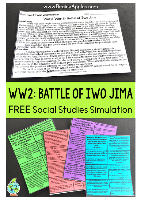 Free history simulation activity for the middle school and high social studies classroom and homeschoolers. This social studies simulation game will help students better understand what soldiers faced during World War 2, specifically the Battle of Iwo Jima. This blog post includes why simulations are beneficial, tips on how to create your own simulation game, and how to use simulation activities in the secondary classroom and and homeschooling. #brainyapples #simulations #socialstudies #history #middleschool #highschool