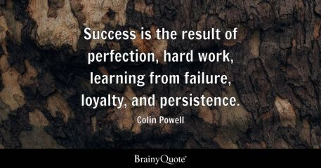 Success is the result of perfection, hard work, learning from failure, loyalty, and persistence. - Colin Powell
