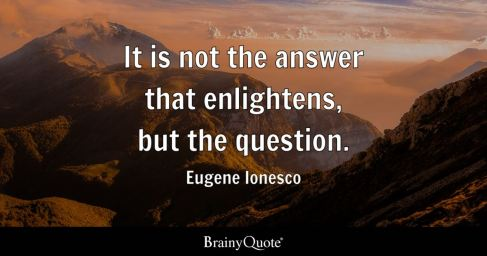 "Image result for ""It is not the answer that enlightens, but the question."" – Eugene Ionesco"