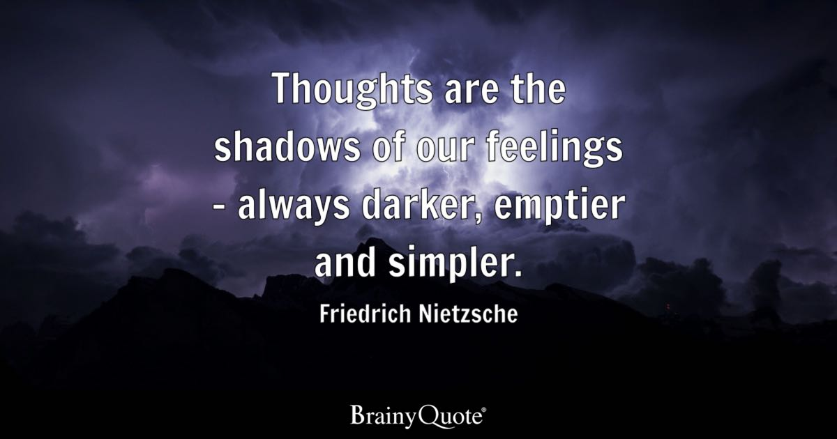 Friedrich Nietzsche Thoughts Are The Shadows Of Our