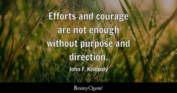 Efforts and courage are not enough without purpose and direction. - John F. Kennedy