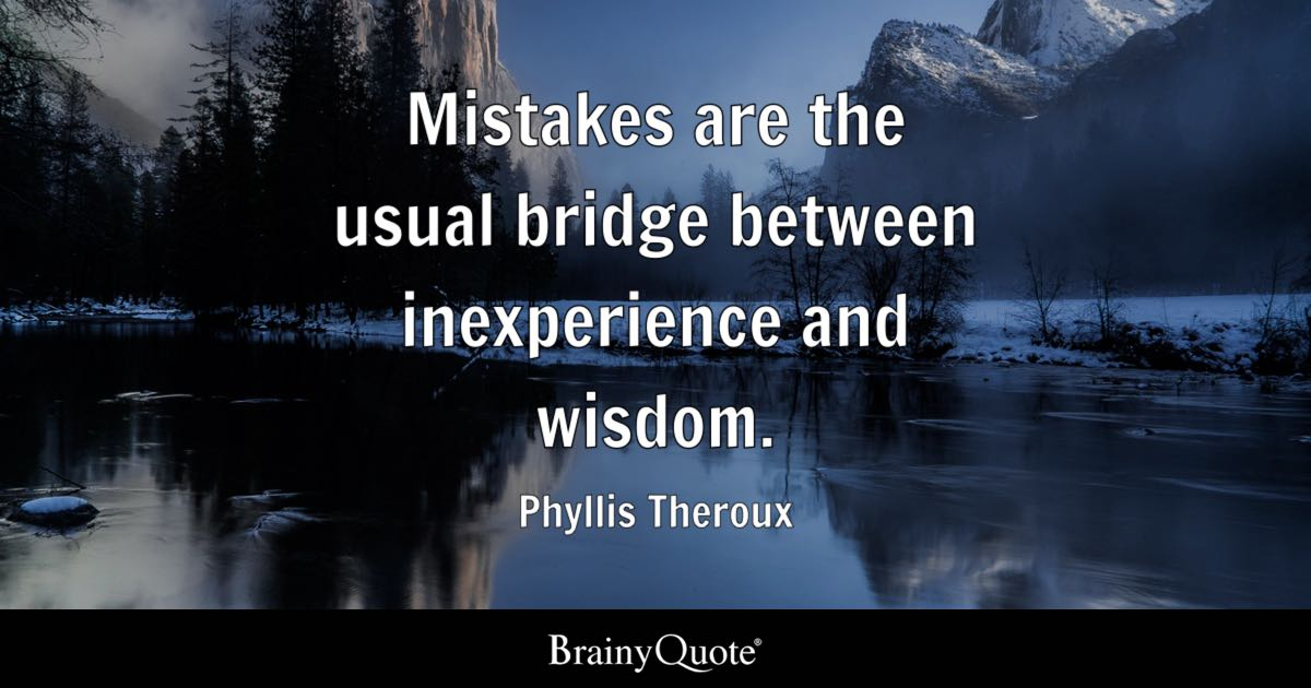 Mistakes Are The Usual Bridge Between Inexperience And
