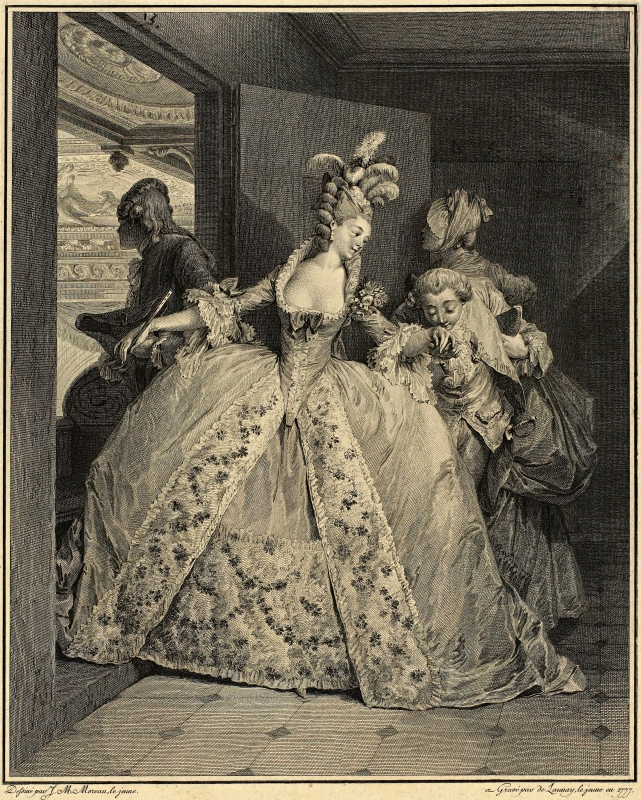 Le Monument du Costume, Robert Delaunay, 1777: This series of plates centres on the fashion, interiors and etiquette of the wealthy French elite around 1776. We follow a young lady du bon ton (of good taste). The opera demands a robe à la française, with a skirt so wide that she can pass through doorways only sideways.