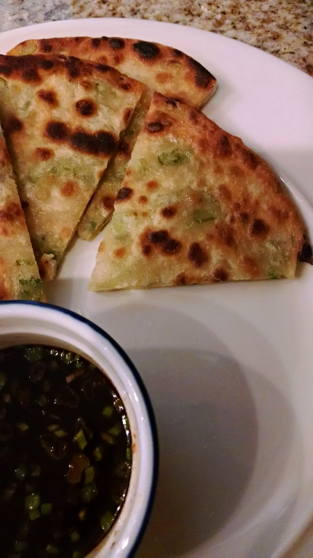 [image: scallion pancake with dipping sauce]