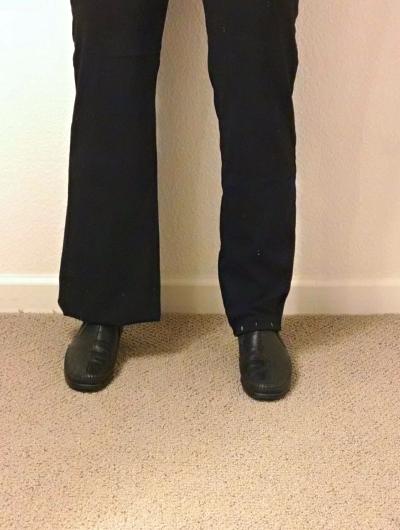 [image: old flared trouser leg (left) and new straight trouser leg (right)]