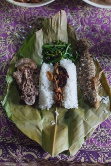 Saying yes to local food sometimes leads to a meal of locally grown rice served with wild boar, fern shoots and fried fish